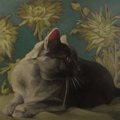 Smoke on Teal gray coco kitty on pattern painting, painting by artist Diane Hoeptner