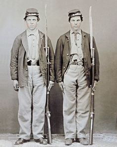 8 by 10 Civil War Photo 2 Union Soldiers Side by Side Brothers or Friends