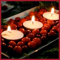 Cranberry Tea Lights -- simple and elegant by ChateauandBungalow.com