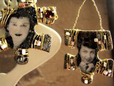 Arte alterato Photobooth Upcycled Puzzle Jigsaw orecchini