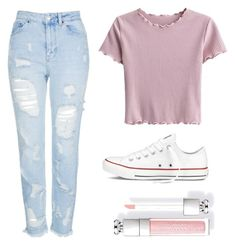 """School"" by summerchasecatz ❤ liked on Polyvore featuring Topshop and Converse"