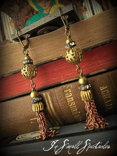 In Small Spectacles Jewelry- Vintage Metal Tassel and Vintage Brass Filigree Earrings