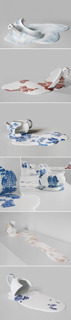 This is the ceramic work of London-based Chilean artist Livia Marin. These gorgeous pieces are from her series titled Nomad Patterns