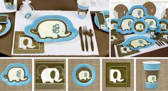 Blue Elephant Party Supplies  http://www.bigdotofhappiness.com/blue-elephant-babyshower-theme.html