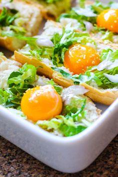 veggie stuffed baked egg boats on @Udi's Gluten Free Foods baguette (pre baking)