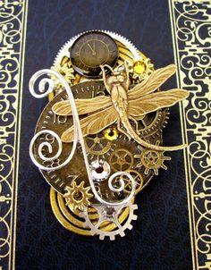 Steampunk Brooch (Pin119) - Dragonfly Design - Clockface and Gears - Swarovski Crystals