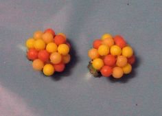 Germany Clip On Earrings Beads Peach Yellow Pastel Jewelry Accessory Vintage
