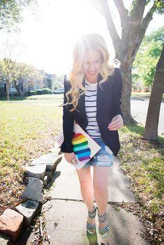 Lynsey Eaton // Tomboy KC // Theory Blazer // Zara T-Shirt // Rag & Bone Shorts // BaubleBar Earrings // Camilla Skovgaard Sandals // Jonathan Adler Clutch