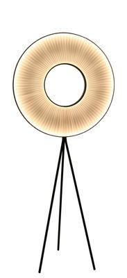 Lampadaire Iris LED / H 165 cm - Tissu blanc & éclairage recto-verso H 165 cm / Tissu blanc & pied noir - Dix Heures Dix - Décoration et mobilier design avec Made in Design