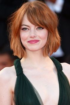 Curly Wavy Bob Haircut - Emma Stone Hairstyles