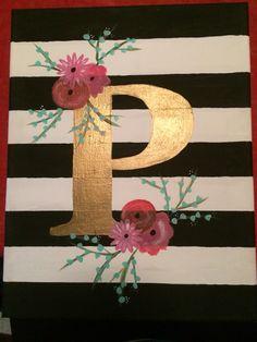 12•25•14 //DIY canvas//monogram//floral