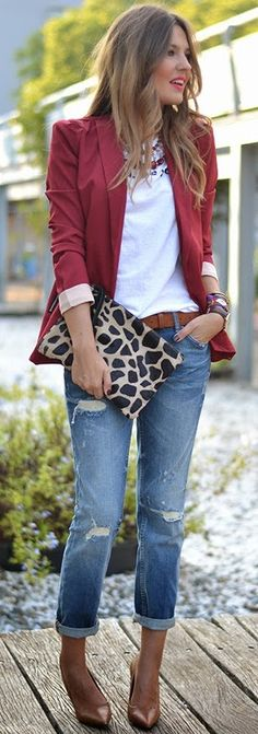 44 Inspiring Outfit Ideas Burgundy Blazer Plus Jeans