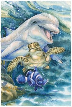 So Happy Together by Jody Bergsma ~ under the sea art ~ dolphin ~ sea turtle ~ tropical fish Dolphin Art, Sea Art, Ocean Creatures, Dolphins, Painting & Drawing, Watercolor Art, Coloring Pages, Fantasy Art, Art Drawings