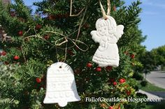 Cornstarch ornaments. So much whiter and prettier than salt dough. Great tutorial at this website. You could make gift tags, too. Can be painted or left white. I've also seen this dough imprinted with stamps, etc. Pretty!