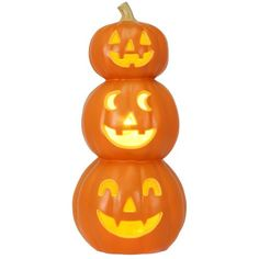 Halloween Lit Triple Pumpkin ($15) ❤ liked on Polyvore featuring home, home decor, holiday decorations, halloween, pumpkin, pumpkin home decor, halloween pumpkin lanterns, halloween home decor, lighted home decor and string lanterns