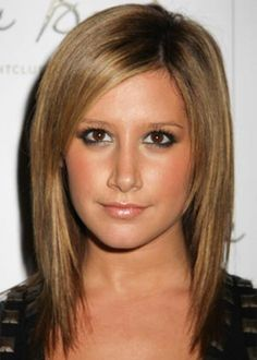 Ashley Tisdale. Love her straight hair with short front layers.