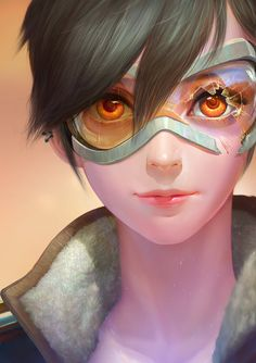 OVERWATCH-tracer portrait by ANG-angg on DeviantArt