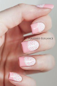 Pink Lace nail art by Lisa