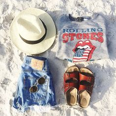 Rolling Stones shirt - Love  Not the hat & would change to grey or black Burkenstocks