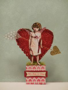 altered art fairy VALENTINE mixed media paper pixie vintage fantasy decoration