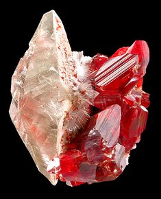 """mineralists: """"Very rare specimen of Realgar included doubly terminated Calcite and Picropharmacolite sprays with Realgar crystals. Jeipaiyu mine, China """""""
