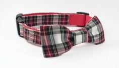 Dog Collar and Bow Tie Set, Tartan Plaid in Red and Green, Adjustable Sizes for small, medium, large, and extra large dogs