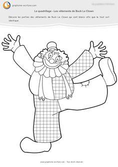 PDF Graphisme Petite Section Quadrillage sur Les habits du clown : Décorer les habits de Buck Le Clown en se servant d'un quadrillage. Fiche Maternelle PS.