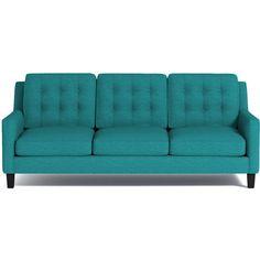 Apt2B Elysian Sofa Ocean Blue ($1,398) ❤ liked on Polyvore featuring home, furniture, sofas, door furniture, handcrafted furniture, hand made furniture and handmade furniture