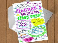 Check out this item in my Etsy shop https://www.etsy.com/listing/507107018/sleep-over-birthday-party-invitation