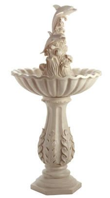"Dolphin Water Fountain... Dolphins on stylized waves leap from this lovely water fountain. Gorgeous addition to any garden or patio.  20"" diameter x 40"" high  $249.00 SALE $150.00"