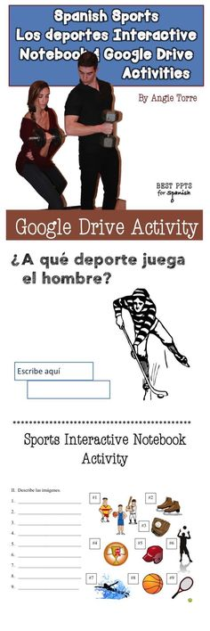 Spanish Sports Vocabulary Interactive Notebook Activity; 16-slide Google Drive Activity; Instructions for Google Drive Activity; List of vocabulary words for the sports, equipment, places, verbs, and expressions associated with sports