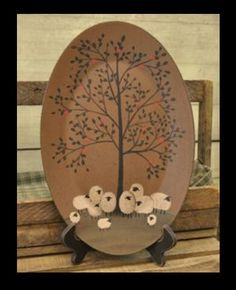 Sheep Oval Tray - Family Reunion-Sheep Decor,Sheep Tray,Sheep Apple Tree,Hearthside Collection click now for info. Primitive Plates, Primitive Sheep, Primitive Folk Art, Primitive Crafts, Country Primitive, Primitive Stitchery, Pintura Country, Arte Country, Country Crafts