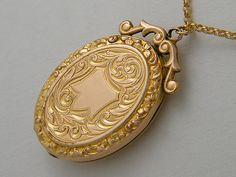 Gold Locket Necklace Antique Locket Edwardian Locket Oval