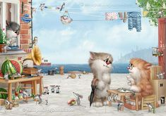 Art by Alexey Dolotov. #art #cute #cats