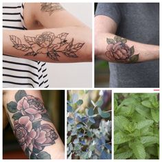 Outline of peony- shaded leaves- then eucalyptus and spearmint colored in black behind the shaded leaves. My next tattoo