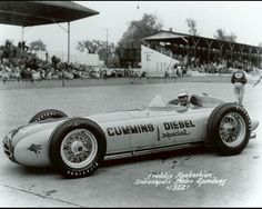 "1952 - Fred Abagashian's (#28) ""Cummings Diesel"" Kurtis/Offy – Qualified: 1st with a Record Speed of (138.010 mph) Belching Black Smoke – Finished: 27th, Turbocharger Failure, Lap 71 (1)"