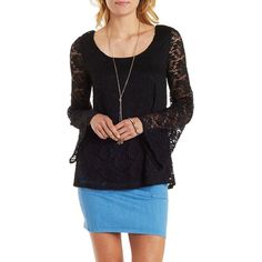 Charlotte Russe Black Lace Bell Sleeve Swing Top by Charlotte Russe at... ($19) ❤ liked on Polyvore featuring tops, black, trapeze top, lace top, pleated top, black top and black scoop neck top