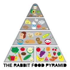 THE RABBIT FOOD PYRAMID: As suggested by Buddy the Elf, I used to stick to the four main food groups: candy, candy canes, candy corn, and syrup, but it just wasn't giving me the results I was looking for.Behold, the Rabbit Food Pyramid! My food pyramid consists of: Produce: fruits and vegetables. Whole Grains: brown …Read more...