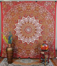 Indian Cotton Vintage Floral Printed Wall Hanging Tapestry Cover  IWUS077RD