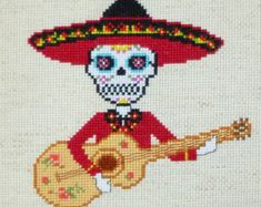 Hearts of Love Sugar Skull Cross Stitch por HanksPatternPlace