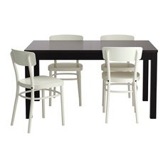 IKEA - BJURSTA / IDOLF, Tisch und 4 Stühle, Ausziehbarer Esstisch mit 2 Zusatzplatten; bietet Platz für 4-8 Personen. Größe des Tisches je nach Bedarf anpassbar.Die Zusatzplatten lassen sich griffbereit unter der Tischplatte unterbringen, bis sie gebraucht werden.Ein verborgener Mechanismus hält die Zusatzplatte am Platz, ohne dass Rillen zwischen den Platten sichtbar sind.Die klar lackierte Oberfläche ist leicht sauber zu halten.Körpergerecht geformte Rückenlehne für besonders bequemes ...