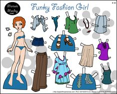 Marisole Monday: Funky Fashion Girl paper doll by Rachel Cohen Fall Paper Crafts, Paper Clothes, Paper Dolls Printable, Vintage Paper Dolls, Funky Fashion, Diy Doll, Doll Patterns, Paper Cutting, Printables