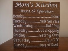 Personalized Kitchen Sign, Mom's Kitchen, Mimi's Kitchen, Hours of Operation, Wood Kitchen Sign, Kitchen Sign Decor, Custom Wood Sign by DeannasCraftCottage on Etsy