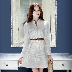 连衣裙女2015秋季新品时尚绣花长袖衬衫式连衣裙韩版显瘦a字裙子