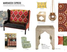 #HPMKT Summer 2012 Trend: Marrakech Express features CR Laine's Connie Chair in fabric Latika Fountain
