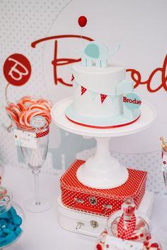 Cake from a Red and aqua elephant birthday party #elephant #partycake