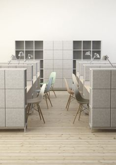 SABINE a brand new furniture system that reduces noise with integrated acoustic panels by Johan Kauppi and Bertil Harström for Sweden's Glimakra.