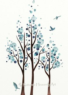 Blue Home Decor Watercolor Tree Print Flying by NaturesHeavenlyArt