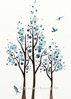 Blue Home Decor Watercolor Tree Print Flying by NaturesHeavenlyArt, $9.00