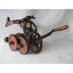 Sickle Bar Sharpener, Grinder, Antique McCormick Deering Farm Implement Sharpener, Made in the USA, Chicago, Stress Relief, Gears ($50) found on Polyvore